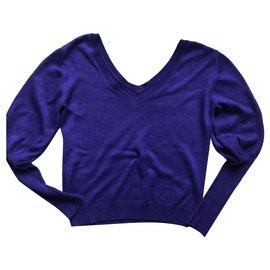 Les Petites-Purple mutton sleeve sweater-Purple