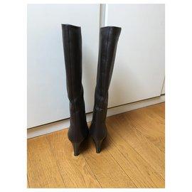 Giuseppe Zanotti-Dark brown grained leather boots-Dark brown