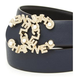 Chanel-navy chanel T85 New in Box-Navy blue,Gold hardware