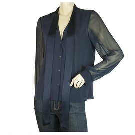 Alice + Olivia-Alice + Olivia Blue SIlk Sheer Long Sleeves Button Down Shirt Top Size S/P-Blue
