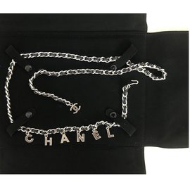 Chanel-Chanel belt in chain and black leather-Hazelnut