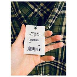 Autre Marque-Maison Standards Long Sleeve Shirt-Light green,Dark green