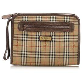 Burberry-Burberry Brown Haymarket Check Canvas Clutch Bag-Brown,Multiple colors,Beige