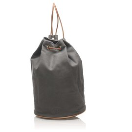 Hermès-Hermes Gray Polochon Mimile Canvas Backpack-Brown,Grey