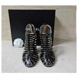 Chanel-Chanel Transparent Black Patent Leather Sandals Size 38-Black