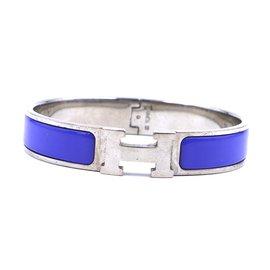 Hermès-Bracelet jonc Hermès émail bleu argent H Clic Clac PM-Bleu