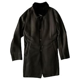 Giorgio Armani-Black Lamb's sheraling fur coat-Black