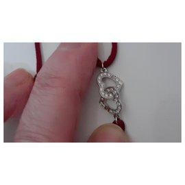 Dinh Van-Bracelet double coeurs diamants or blanc 750 R9-Argenté