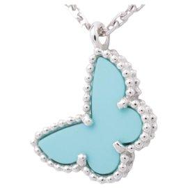 Van Cleef & Arpels-Van Cleef & Arpels Pendentif Papillon Turquoise Sweet Alhambra, 18K or blanc-Bleu