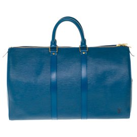 Louis Vuitton-Louis Vuitton Keepall Travel Bag 45 in blue epi leather in very good condition-Blue