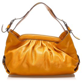 Fendi-Fendi Orange Borsa Doctor Leather Shoulder Bag-Orange