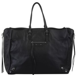 Balenciaga-Balenciaga Black Papier A4 Leather Zip-Around Tote Bag-Black
