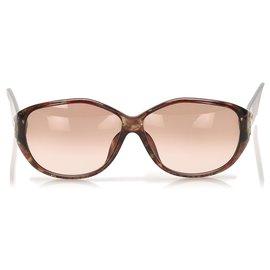 Dior-Lunettes de soleil rondes teintées marron Dior-Marron