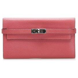 Hermès-Hermes Pink Kelly Leather Wallet-Pink