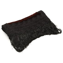 Dior-Écharpe en velours noir Dior-Noir,Rouge