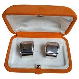 Hermès-Hermès boucles d'oreilles clips-Argenté