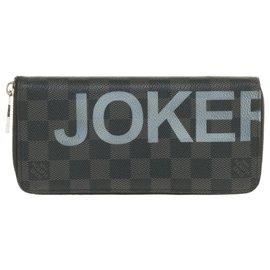 "Louis Vuitton-Louis Vuitton Zippy wallet in graphite checkerboard customized ""Joker"" by PatBo-Black,Dark grey"