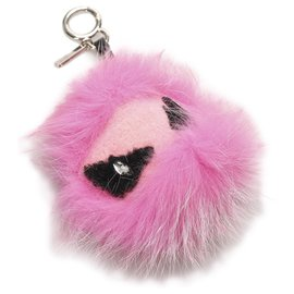 Fendi-Fendi Pink Monster Fur Pom-Pom Bag Charm-Black,Pink