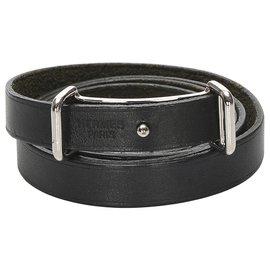 Hermès-Bracelet en cuir noir Hermès-Noir