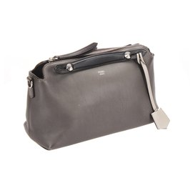 Fendi-Fendi Gray By The Way Leather Satchel-Grey