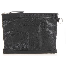 Balenciaga-Balenciaga Black Motocross Classic Clip L Leather Clutch Bag-Black
