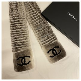 Chanel-Fur scarf-Grey