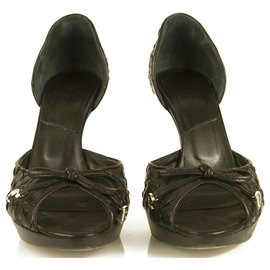 Christian Dior-Christian Dior Black Stitched Leather Peep Toe Pumps Platform Shoes sz 39-Black