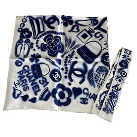Chanel-Silk scarves-Blue