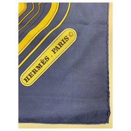 Hermès-Les Berlines in Blue and Yellow-Yellow,Navy blue