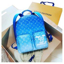 Louis Vuitton-Louis Vuitton Wolken Motiv cloud Multipocket Rucksack neu-White,Blue
