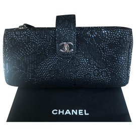 Chanel-Timeless Classique Embossed Clutch-Black