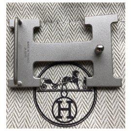 Hermès-Belt buckle H-Silvery