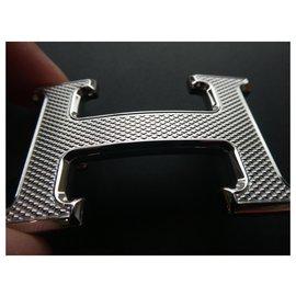 Hermès-Hermès buckle in palladium guilloche steel-Silvery
