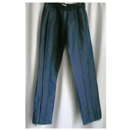 Chanel-CHANEL Fusée collection pants Midnight blue Nylon T38-Blue