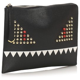 Fendi-Fendi Black Monster Leather Clutch Bag-Black,Multiple colors