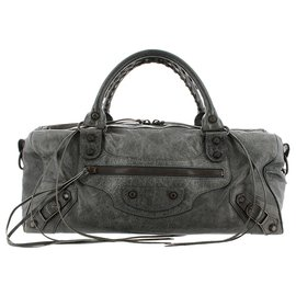 Balenciaga-Balenciaga Gray Motocross Twiggy Lambskin Leather Handbag-Grey