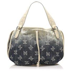 Céline-Celine Blue Macadam Bittersweet Denim Handbag-White,Blue,Navy blue