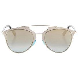 Dior-Lunettes de soleil rondes teintées argentées Dior-Argenté