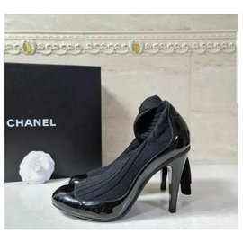 Chanel-NWOB Chanel 14S Black Patent Leather Knit Sock Booties Sz.37-Black