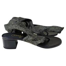 Chanel-CHANEL Sock Thong Sandal Black Gold Metallic Leather Heel DUBAI 15C Sz.37-Black