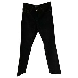 Chanel-Velvet trousers with tweed pocket-Black