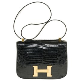 Hermès-Splendid Hermès Constance shoulder bag in black Porosus crocodile, gold plated metal trim-Black