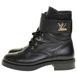Louis Vuitton-Superb Louis Vuitton Wonderland biker boots in black leather, taille 40-Black