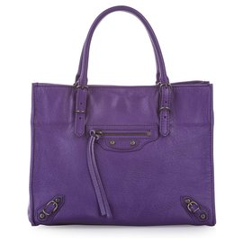Balenciaga-Balenciaga Purple Papier A4 Leather Satchel-Purple