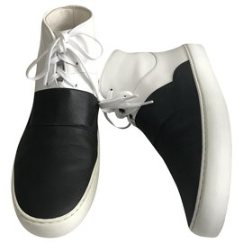 Chanel-Black and White High Top Trainers-Black,White