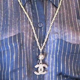 Chanel-Collier chaîne texturée géante Chanel Gold CC-Doré