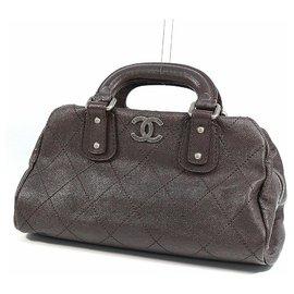 Chanel-CHANEL wild stitch Womens Boston bag brown x silver hardware-Brown,Silver hardware