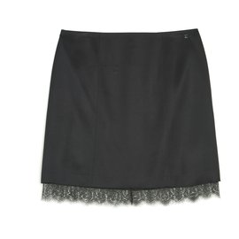 Chanel-BLACK SILK SATIN LACE FR46-Black