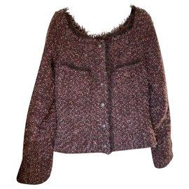 Chanel-Veste Chanel en tweed-Bordeaux