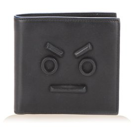 Fendi-Fendi Black Faces Bifold Leather Wallet-Black